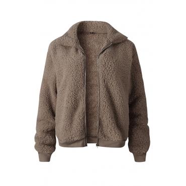 Lovely Euramerican Winter Zipper Design Khaki Jacket