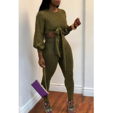 Lovely Modern Lace-up Green Two-piece Pants Set