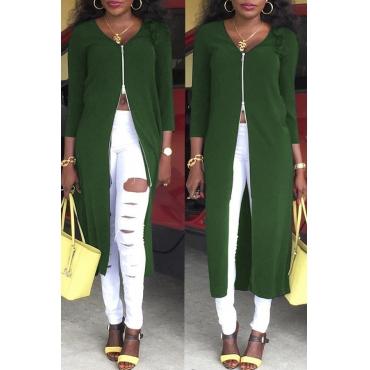Lovely Euramerican Zipper Design Green Twilled Satin Coat