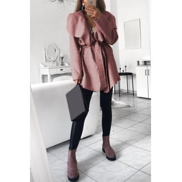 Lovely Euramerican Turn-down Collar Pink Trench Coats
