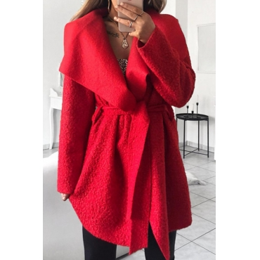 Lovely Euramerican Turn-down Collar Red Trench Coats