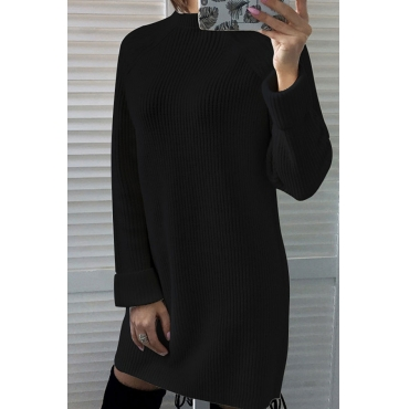 Lovely Euramerican Long Sleeves Black Blending Mini Dress
