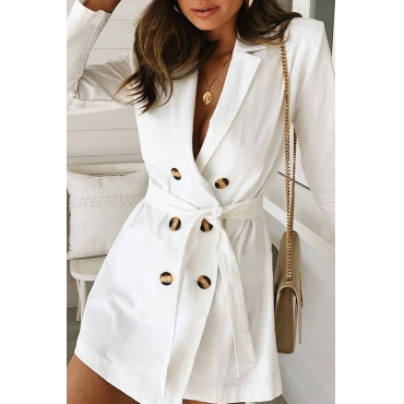 Lovely Work Long Sleeves Buttons Decorative White Mini Dress