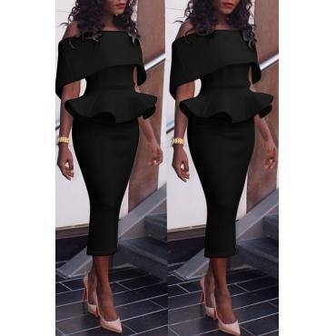 Lovely Elegant Dew Shoulder Pencil Black Mid Calf Dress