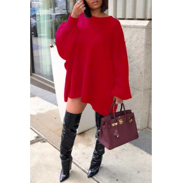 Lovely Casual Puffed Sleeves Red Knitting Mini Dress