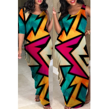 Lovely African Geometric Printed Green Ankle Length Dress