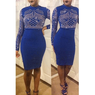 Lovely Euramerican Hot Drilling Decorative Blue Knee Length Dress