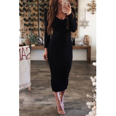Lovely Casual Long Sleeves Slim Black Blending  Mid Calf Dress