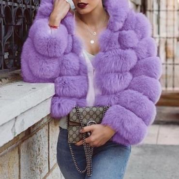 Lovely Euramerican Luxury Purple Faux Fur Coat