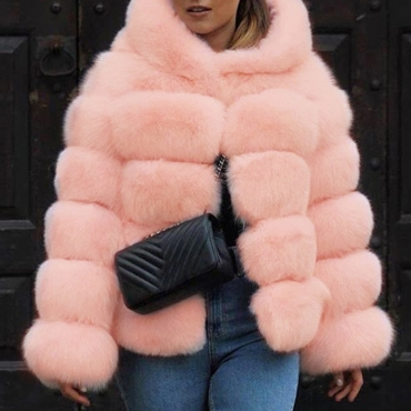 Lovely Euramerican Luxury Pink Faux Fur Coat