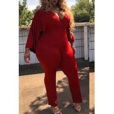 Lovely Euramerican Cape Design Red Twilled Satin One-piece Jumpsuit