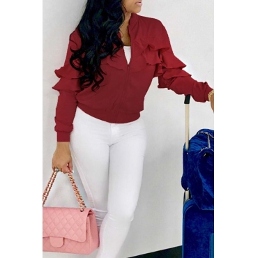 Lovely Casual Flounce Design Wine Red Velvet Coat