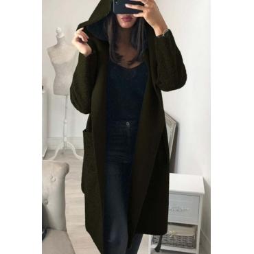 Lovely Trendy Long Sleeves Lace-up Army Green Trench Coats