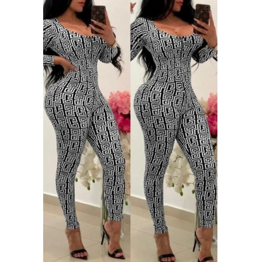 Lovely Chic Printed Skinny Black Blending One-piece Jumpsuit