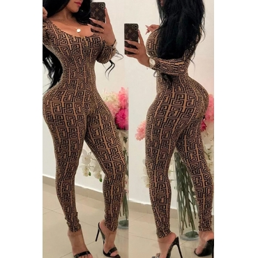Lovely Chic Printed Skinny Khaki Blending One-piece Jumpsuit