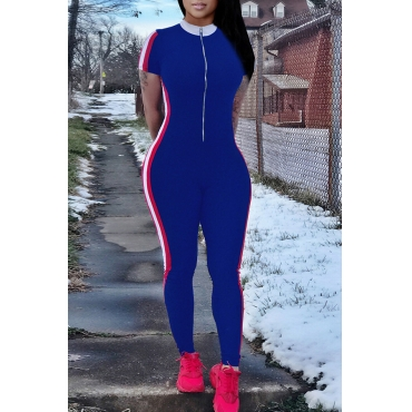 Lovely Casual Striped Skinny Royal Blue Blending One-piece Jumpsuit