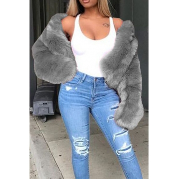 Lovely Casual Winter Long Sleeves Grey Faux Fur Coat