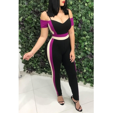 Lovely Chic Patchwork Black Twilled Satin One-piece Jumpsuit