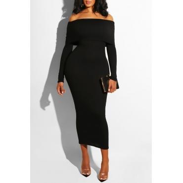 Lovely Chic Dew Shoulder Slim Black Knitting Ankle Length Dress