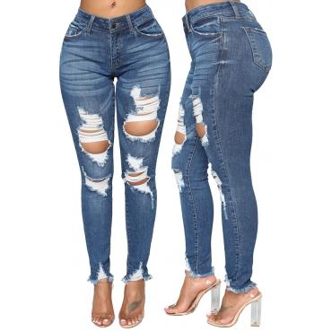 Lovely Euramerican Broken Holes Blue Denim  Jeans