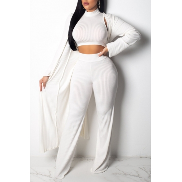 Lovely Euramerican Long Sleeves White Two-piece Pants Set(With Coat)
