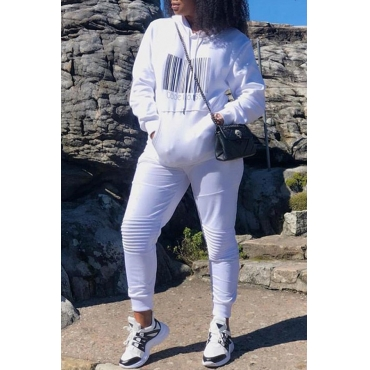 Lovely Casual Hooded Collar White Twilled Satin Two-piece Pants Set