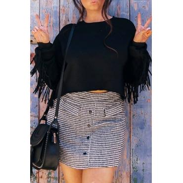 Lovely Euramerican Tassel Design Black Cotton Hoodies