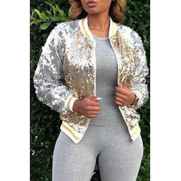 Lovely Trendy Long Sleeves Gold Sequined Jacket