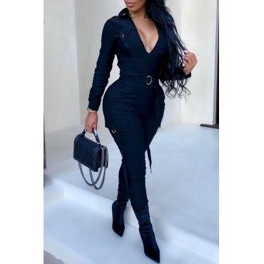 Lovely Chic Pockets Skinny Black One-piece Jumpsuit(Without Belt)