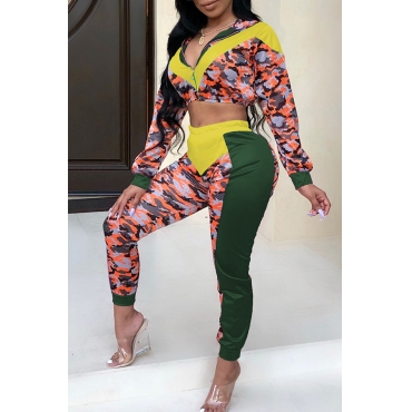 Lovely Casual Patchwork Yellow Blending Two-piece Pants Set
