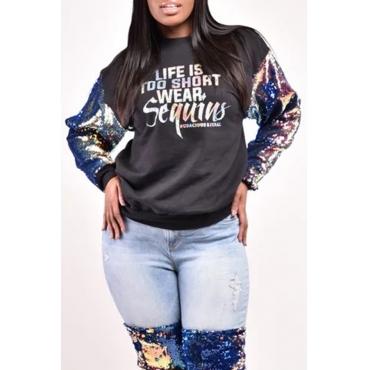 Lovely Casual Sequins Design Black Sweatshirt Hoodie