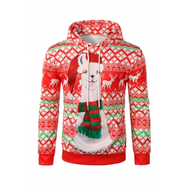 Lovely Euramerican  Printed Red Cotton  Hoodies