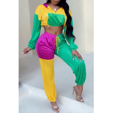 Lovely Trendy Color-lump Patchwork Green Twilled Satin Two-piece Pants Set