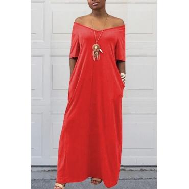 Lovely Casual Pockets Design Red  Blending Floor Length Dress