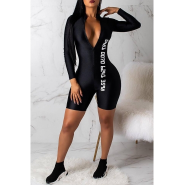 Lovely Sexy Printed Skinny Black One-piece Rompers