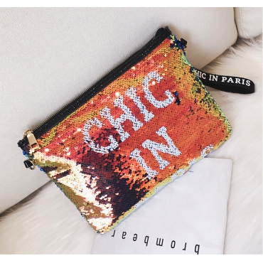 Lovely Casual Letters Multicolor Sequined Shoulder Bags