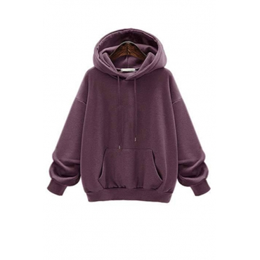 Lovely Casual Hooded Collar Drawstring Purple Cotton Hoodies