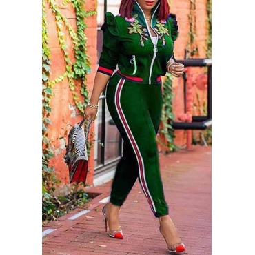 Lovely  Casual Patchwork Floral Green Twilled Satin Two-piece Pants Set