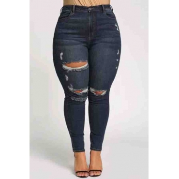 Lovely Trendy Broken Holes Deep Blue Jeans