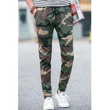 Lovely Euramerican Camouflage Printed Green Blending Pants
