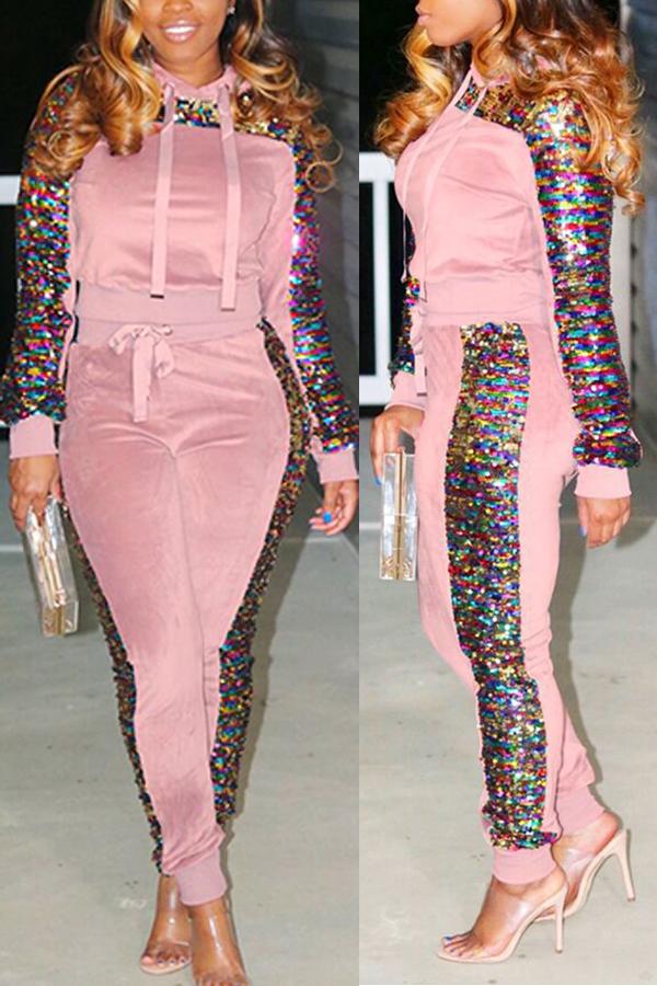 Precioso Conjunto De Pantalones De Dos Piezas Con Lentejuelas Decorativas Con Lentejuelas De Color Rosa