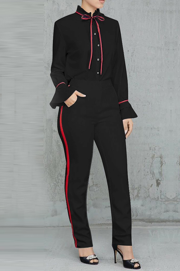 Lovely Sweet Long Sleeves Patchwork Black Blending Two-piece Pants Set