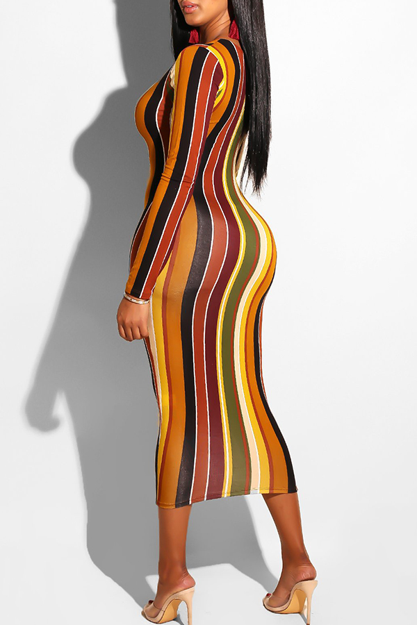 Lovely Euramerican Striped Printed Colorful Twilled Satin Ankle Length Dress