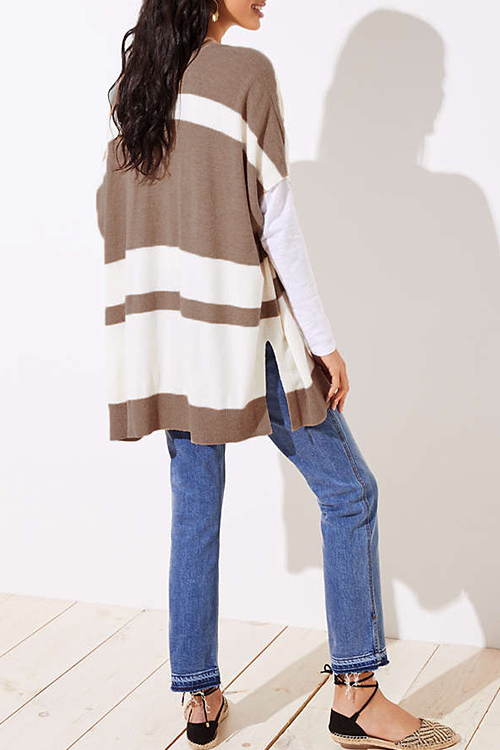 Lovely Casual Grids Printed Light Tan Cardigan Sweaters