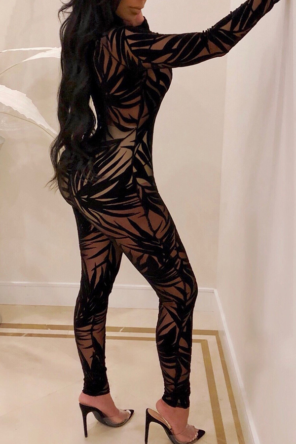 Lovely Sexy Gauze Black Blending One-piece Jumpsuit