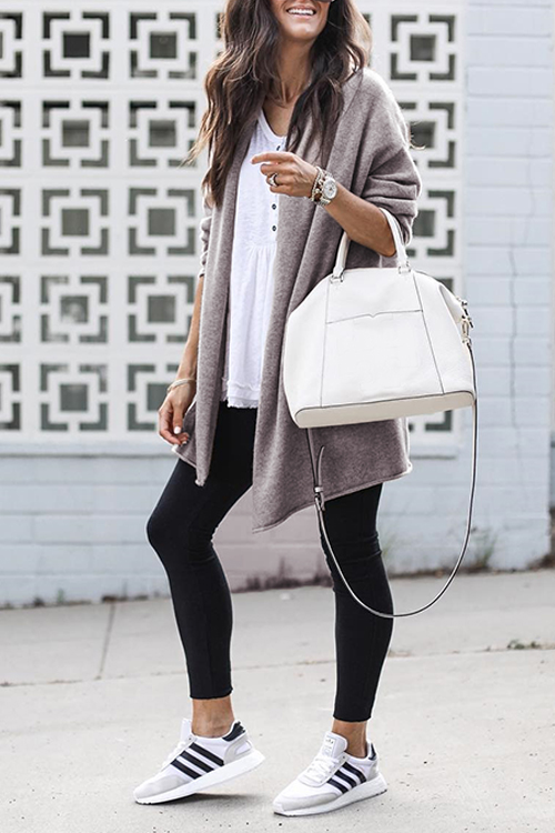 Lovely Casual Long Sleeves Grey Cardigans