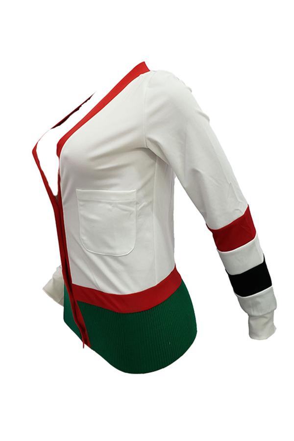 Lovely Fashion Split Joint White Blending Sweaters