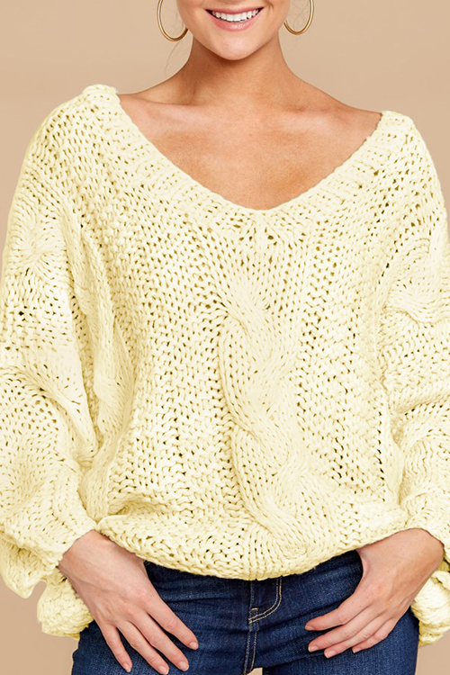 Lovely Fashion Long Sleeves Hollow-out Ke-Bai Mi Sweaters