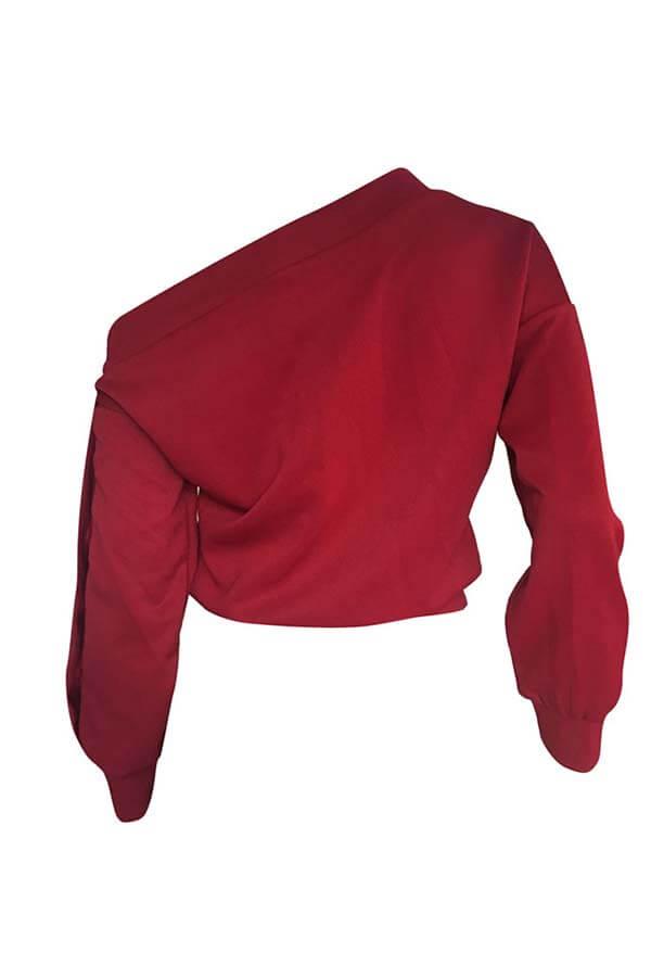 Lovely Trendy Long Sleeves Wine Red Sweatshirt Hoodie