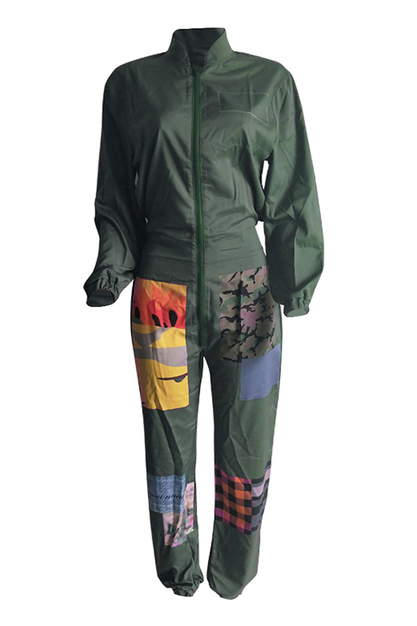Lovely Euramerican Patchwork Green One-piece Jumpsuit